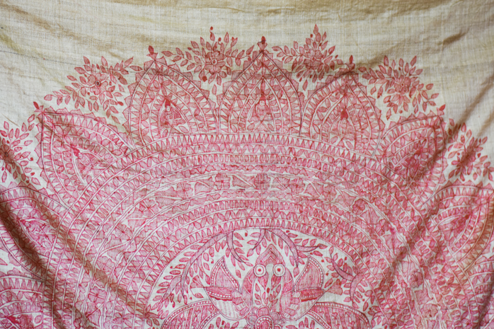 A hand-painted Madhubani Saree in Tussar Silk