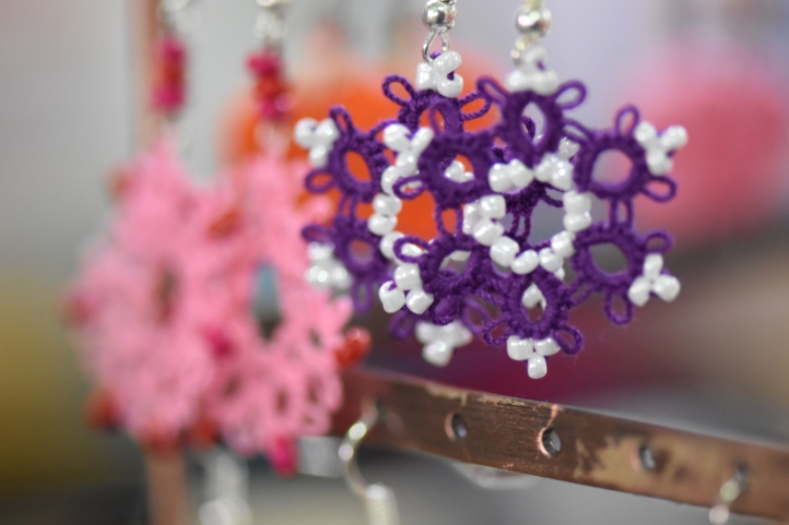Earrings done in the Tatting technique